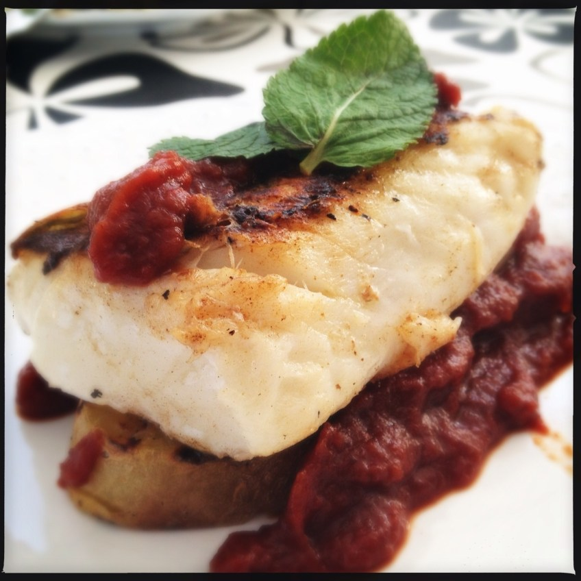 Salted Cod with dade tomato purée
