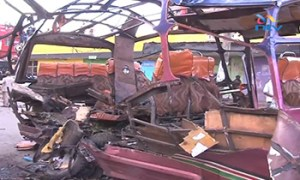 The shell of a matatu minibus after the grenade attack in November [IRIN]