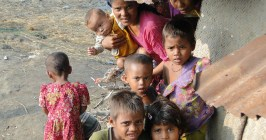 Rohingya children in a refugee camp.