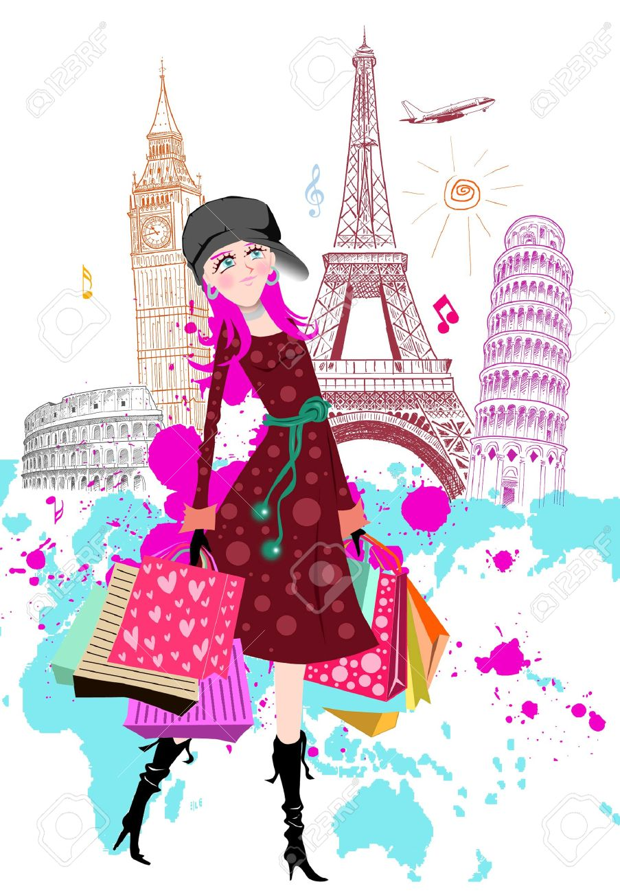 15303924-fashion-cartoon-girl-travels-the-world-stock-photo-paris