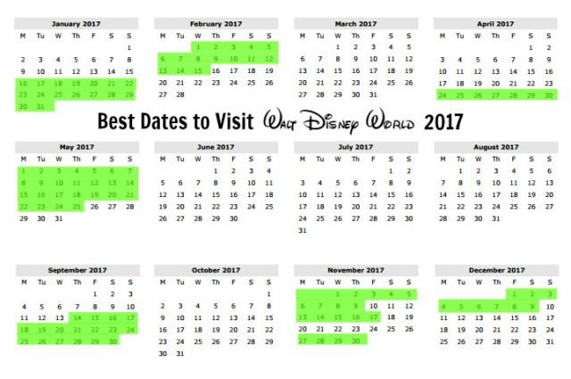 best-dates-disney-world-2017