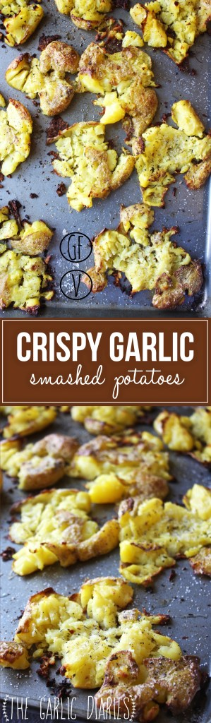 Crispy Garlic Smashed Potatoes -- TheGarlicDiaries.com