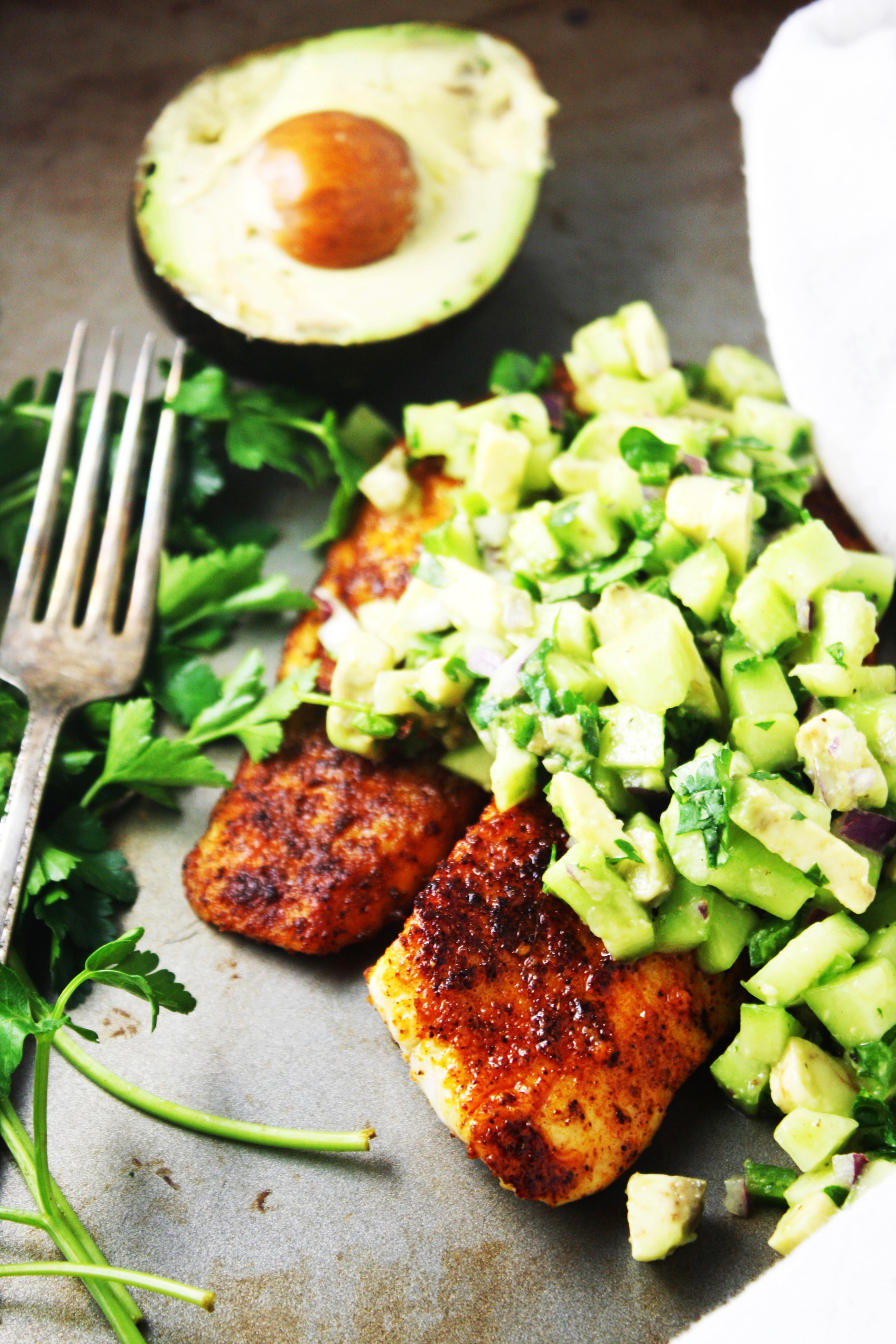 Blackened Tilapia with Cucumber Avocado Salsa [21 Day Fix] - This ...