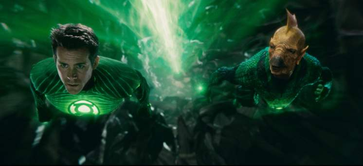 Ryan Reynolds as Green Lantern and Tomar-Re