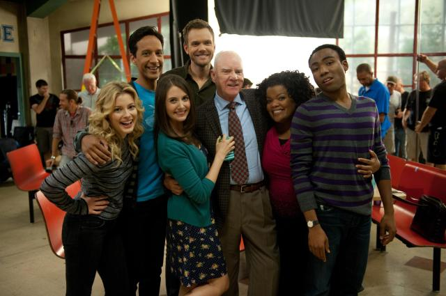 Malcolm McDowell and the cast of Community
