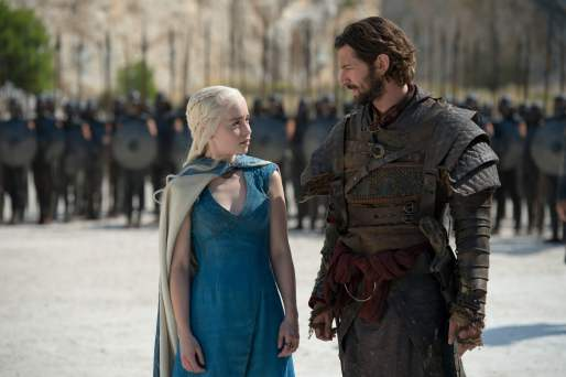 Emilia Clarke as Daenerys Targaryen and Michael Huisman as Daario Naharis