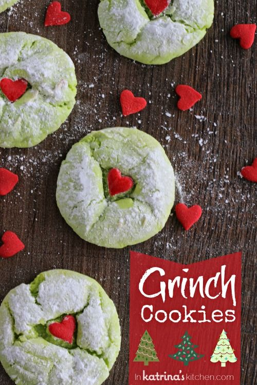 christmascookies-cake mix grinch cookies