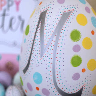 Monogram Easter Egg | The Girl Creative Simple and easy Easter decor project using faux egg and paint.