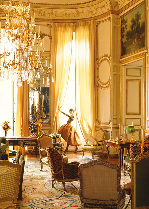 Givenchy couture photographed in the grand salon of the home of close friend Hubert de Givenchy