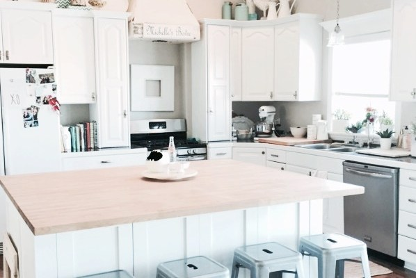white kitchen, makeover, renovation, butcher block counters, white cabinets, painted cabinets, DIY