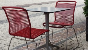 danish deli red chairs