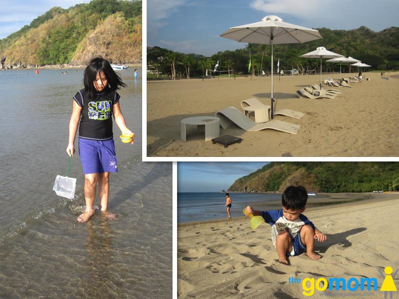 Kids by Pico de Loro Batangas beach.  Sun deck chairs at Pico de Loro Batangas.