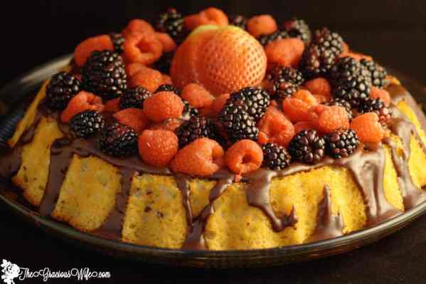 Easy Yogurt Cake with Ganache and Fresh Berries. #cake #chocolate #ganache #berries #ad #MullerMoment From TheGraciousWife.com