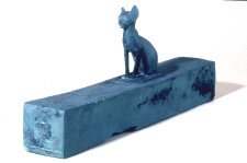 Bronz Cat Mummy Case Inscription to Bast from Horemakhbit, Scribe Late Period