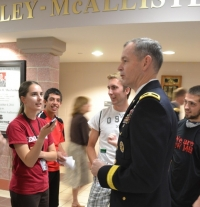 Gen. MacFarland heads to the auditorium after an extended session with Gregorian Fellows Oct. 4.