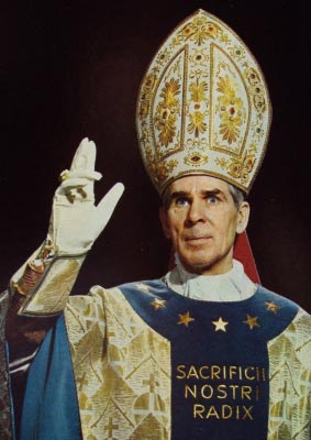"Bishop Fulton Sheen (1895-1979), Newport (titular), author, radio and TV personality. In 1938 said: ""The vision of the cross is fading ... the world is about to pass over into the hinterland of darkness and ruin."""