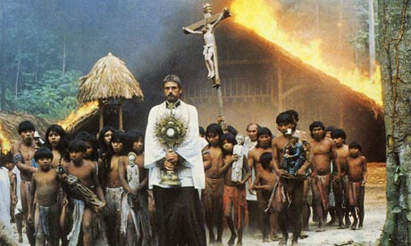 Jeremy Irons stars in two Eucharistic Moment movies. Here he is in The Mission.