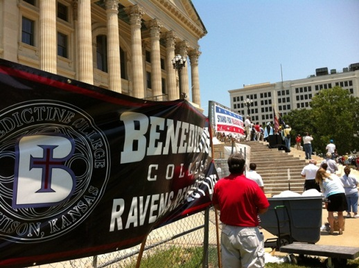 The Benedictine presence loomed large at the Kansas Fortnight for Freedom rally for religious liberty. Buses and a caravan left from Benedictine College and Maur Hill-Mount Academy.