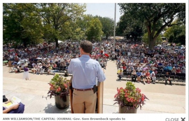 Screenshot of a Capital-Journal photo of Gov. Sam Brownback at the Topeka, Kansas, Rally for Freedom.