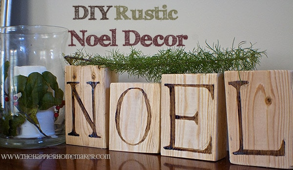 rustic noel wood block decor