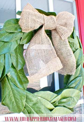 burlap magnolia wreath bow pottery barn