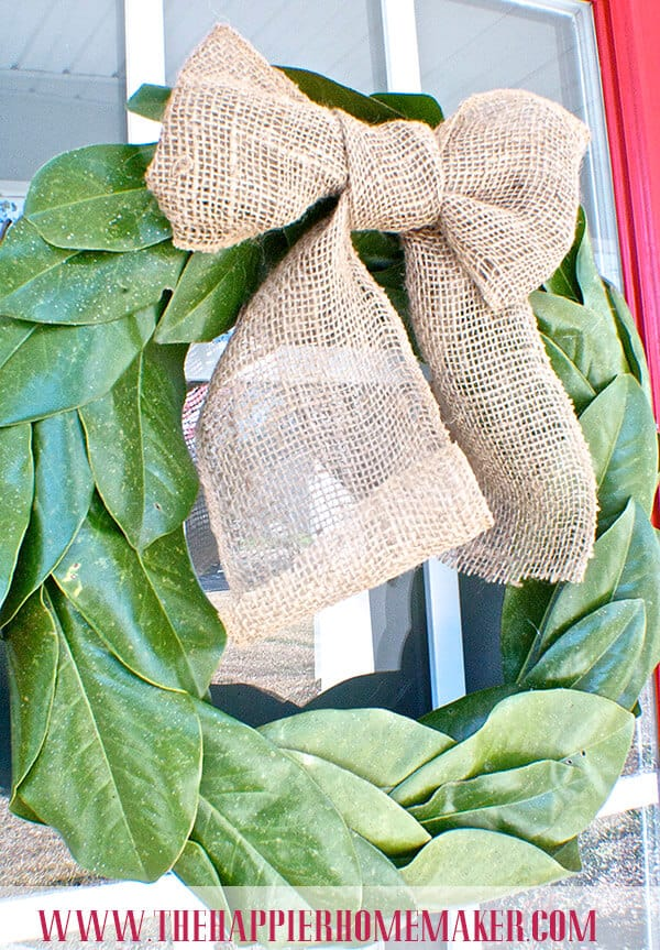 burlap magnolia wreath bow pottery barn