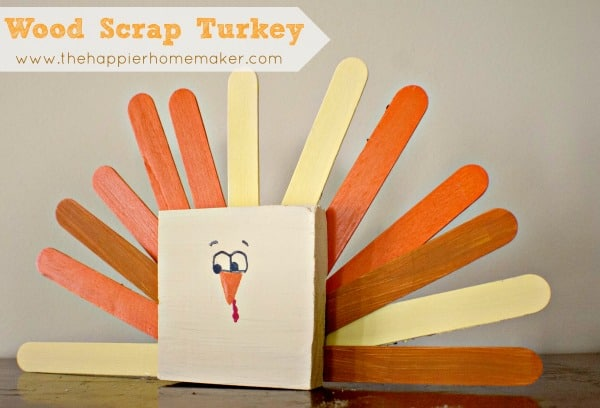 wood block turkey popsicle stick turkey thanksgiving fall autumn craft kids