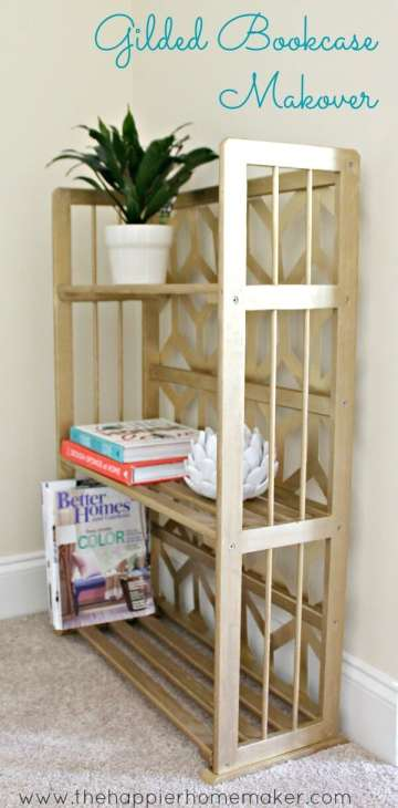 side view gilded geometric bookcase