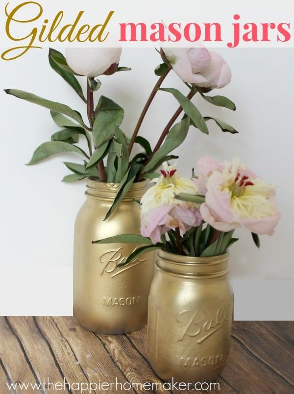 paint mason jars gold