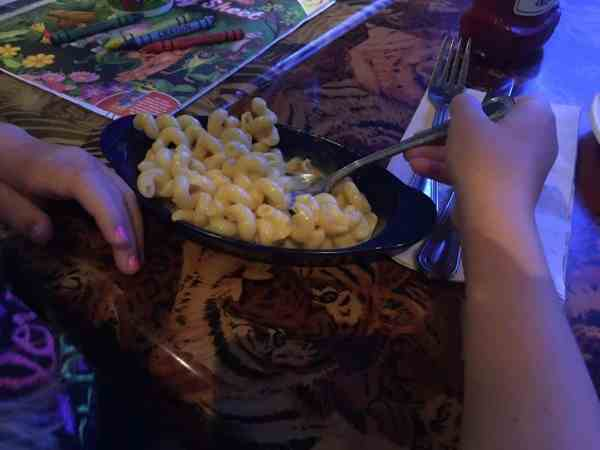 Mac and cheese kid meal at Rainforest Cafe.