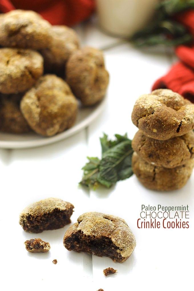 Paleo Chocolate Mint Crinkle Cookies