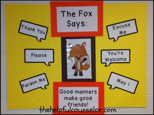 Teaching children manners bulletin board