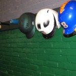 Helmets hanging at The Hitting Club