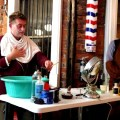 Leading a shaving class with Jonathan Hagey of Kingpin Chic Vintage Menswear.