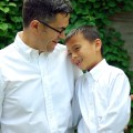 Me and my son in our matching white button-downs