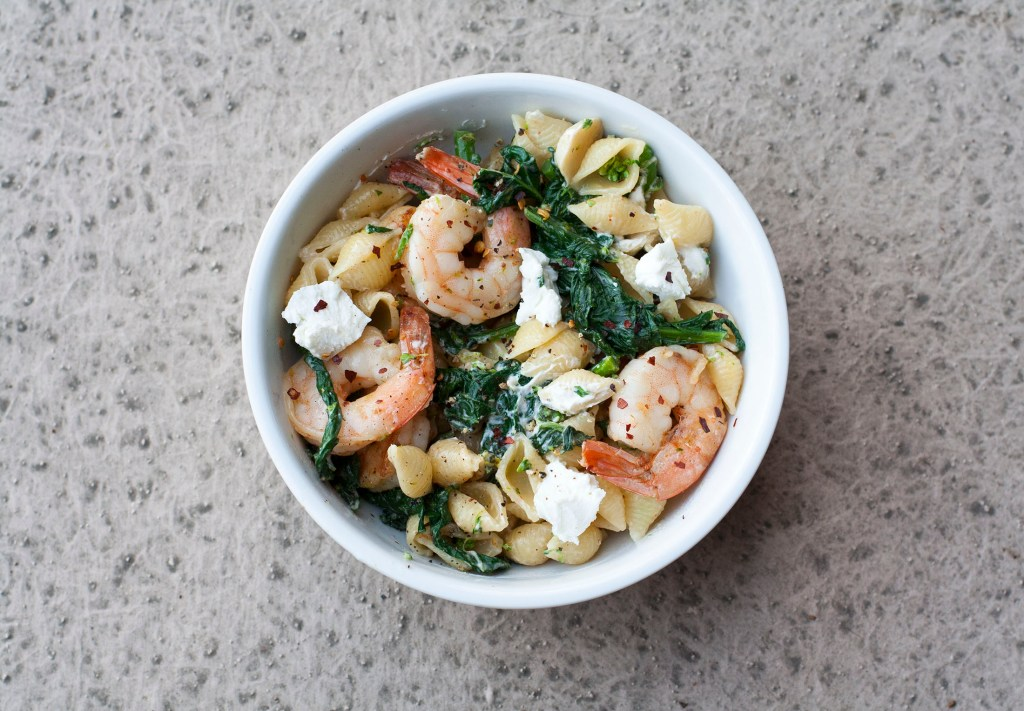 Shrimp, Broccoli Raab, Goat Cheese Pasta