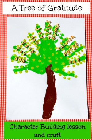 A Gratitude Tree - a character-building lesson for each step as handprints are used for branches, fingerprints for leaves, forearm as the trunk and #alphabits to share our thankful hearts. {the House of Hendrix}