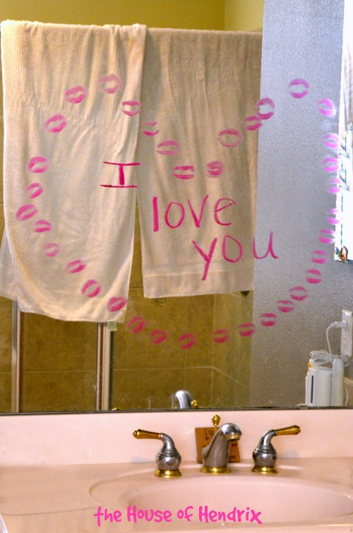 Kiss a heart into your man's bathroom for a fun and flirty surprise.