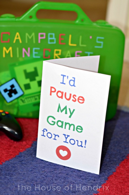 Printable Card for your video game lover. I'd Pause my Game for you the House of Hendrix