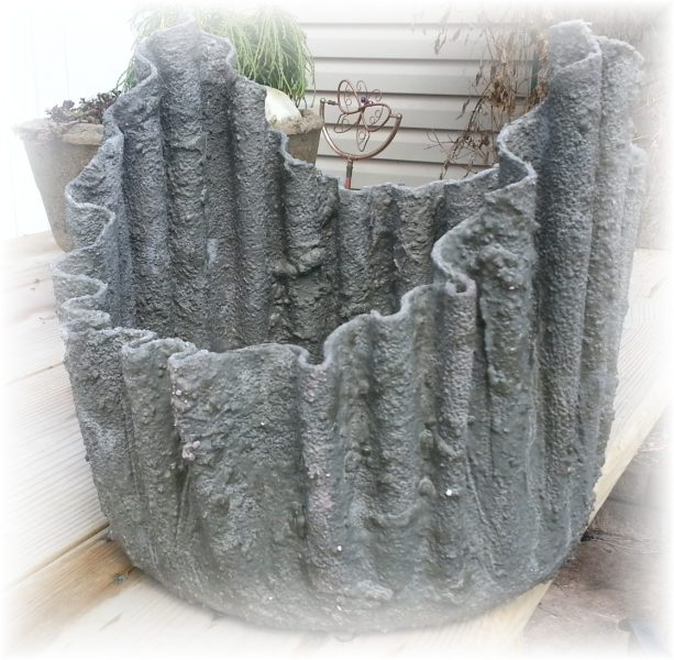 Oh possibilities draped hypertufa gardener - Cloth cement plant pots ...