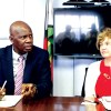 Rapprochement ... Finance minister Patrick Chinamasa and British ambassador to Zimbabwe Catriona Laing at a recent press briefing in Harare.