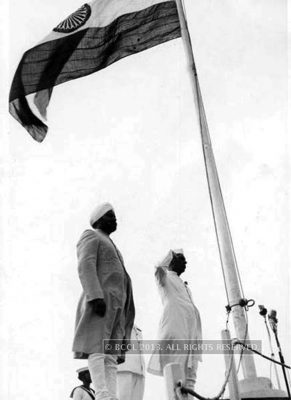 """Jawaharlal Nehru unfurled the Indian National Tricolor at the Red Fort, Delhi on 15th August, 1947, in celebration of the Independence of India, amid  chants of """"Jai Hind"""". His speech """"Tryst with Destiny"""" on the historic occasion has become  an integral  part of history: """" At the stroke of the midnight hour, when the world sleeps, India will awake to life and freedom."""""""