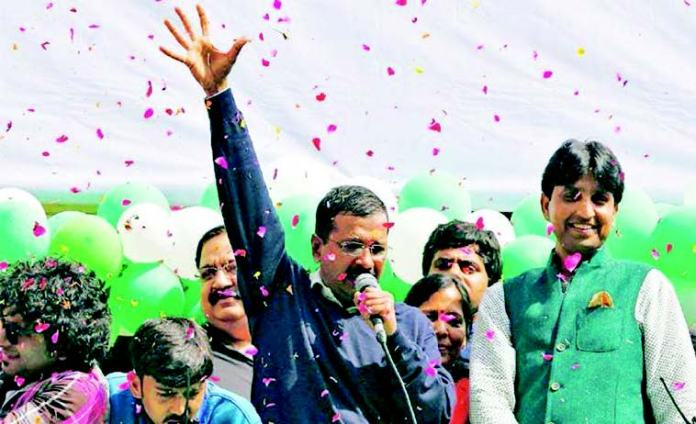 AAP Leader Kejriwal speaks to supporters at the victory rally