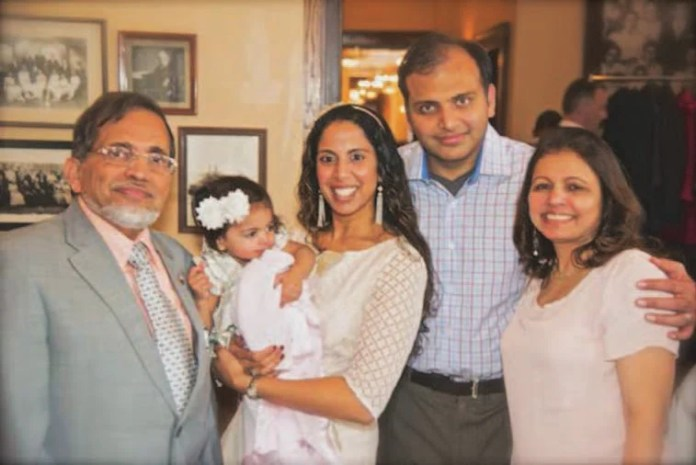 The family (From L to R): Ahmed Shakir, grand daughter Safiya, daughter in-Law Dr. Naseem, son Dr. Taaha, wife Dr. Khadija
