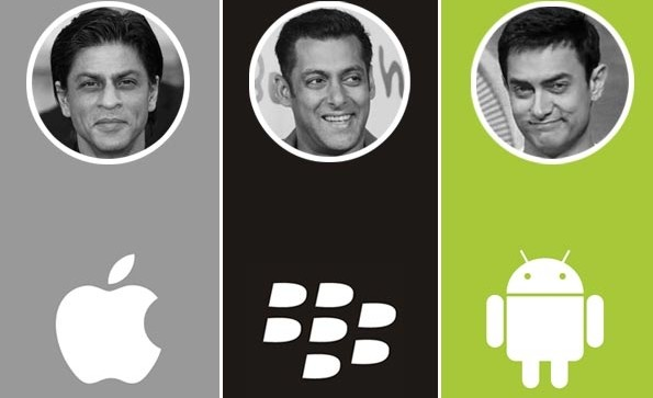 SRK with Apple | Salman with Blackberry | Aamir with Android