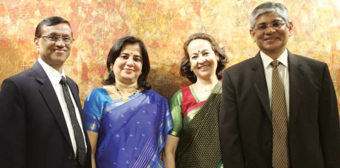 At the Community reception to Ambassador Singh and his wife Maina Chawla Singh at Delhi Art Gallery in New York. From L to R : Consul General Dnyaneshwar M. Mulay, Dr Sadhna Shanker, Dr. Maina Chawla Singh, and Ambassador Arun Kumar Singh