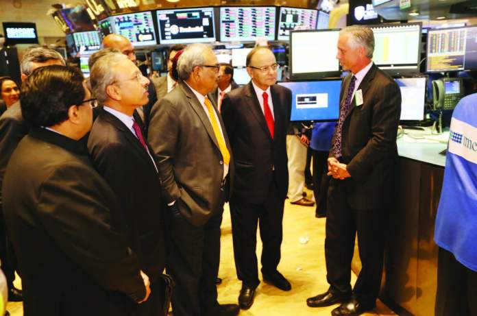 India's Finance Minister Arun Jaitley visited the trading floor of New York Stock Exchange, after ringing the closing bell, June 17