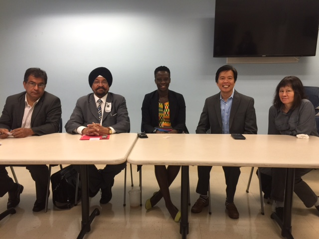 Panelists at the media conference organized by Director of Media Diversity Relations, office of the City Council Speaker, June 1. L to R: Javier Castano , Director, Queens Laino, Prof. Indrajit S Saluja , Editor, The Indian Panorama, Isseu Diouf Campbell, Communications & Media Consultant and Founder of Afrikanpot.com, Anthony Advincula from New American Media, and Lotus Chan from Sing Tao Daily.