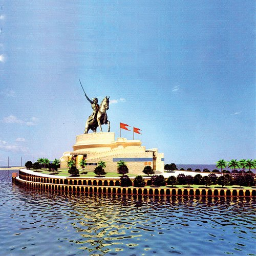 An artist's rendition of the proposed 200 meter Shivaji statue