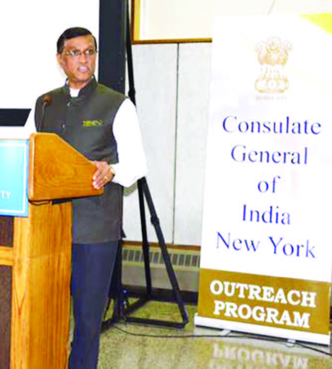 Consul General Dnyaneshwar M Mulay speaks about the services provided by the Consulate in New York